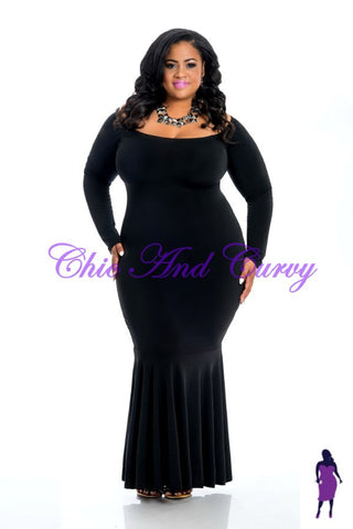 New Plus Size Bodycon Off The Shoulder Gown in Black with Mermaid Bottom