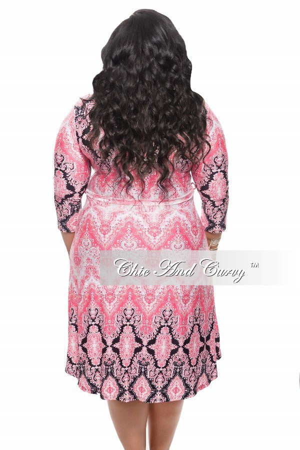 New Plus Size Dress with Tie in Coral, Black, and White Print