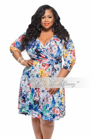 50% Off Sale - Final Sale Plus Size Dress with Tie in Mixed Floral Print