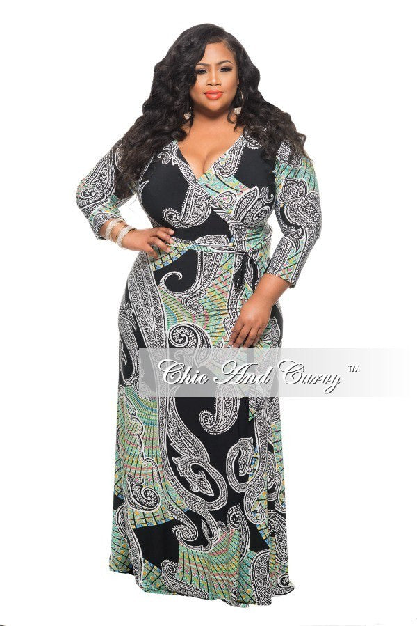 50% Off Sale - Final Sale Plus Size Long Dress with Tie in Black, White, Green, and Pink Paisley Print