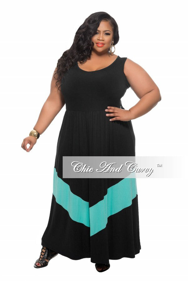 New Plus Size Maxi Dress in Colorblock Black and Mint