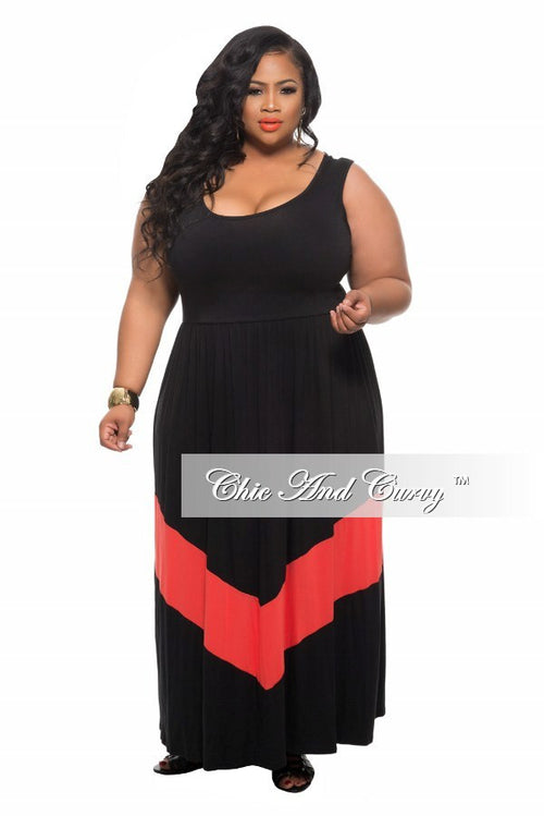 Final Sale New Plus Size Maxi Dress in Color block Black and Coral