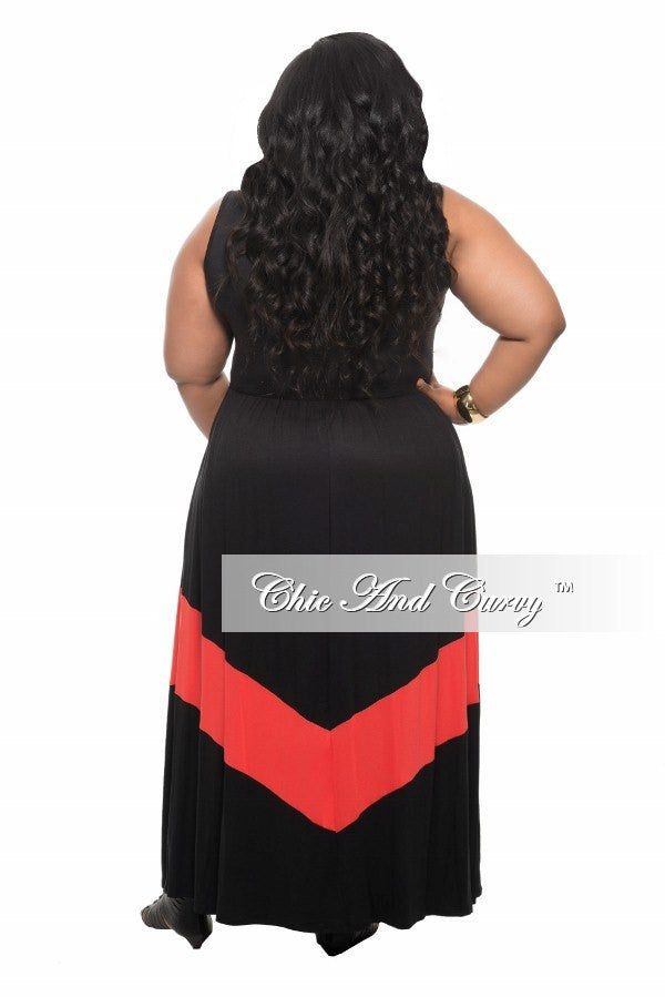 New Plus Size Maxi Dress in Colorblock Black and Coral