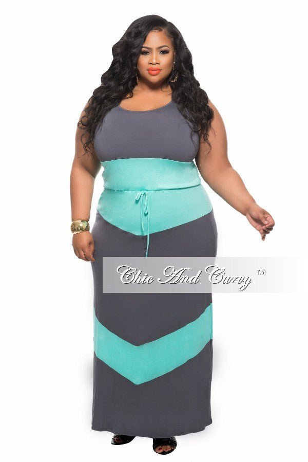 New Plus Size Maxi Dress with Tie in Colorblock Grey and Turquoise