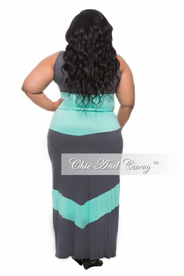 Final Sale Maxi Dress with Tie in Color Grey and (Aqua) Turquoise