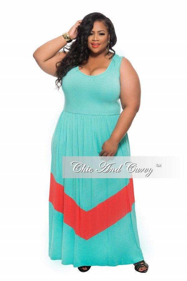 Final Sale New Plus Size Maxi Dress in Color block Turquoise and Coral