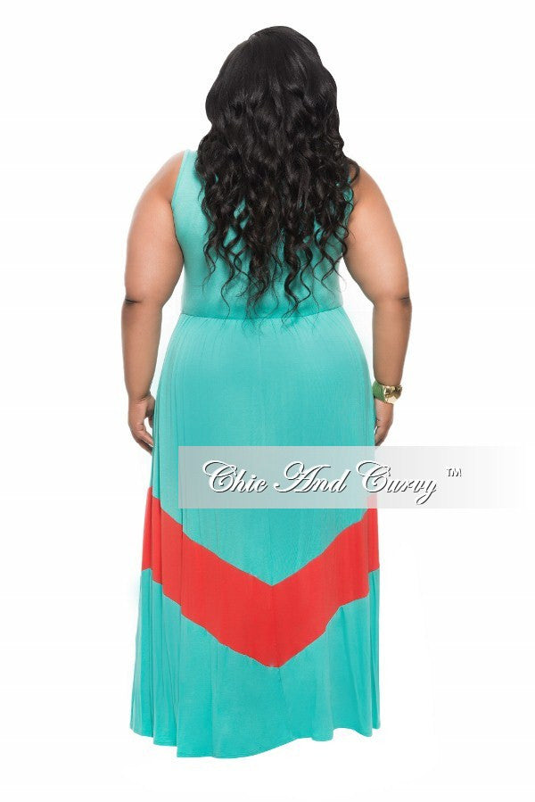 New Plus Size Maxi Dress in Colorblock Turquoise and Coral