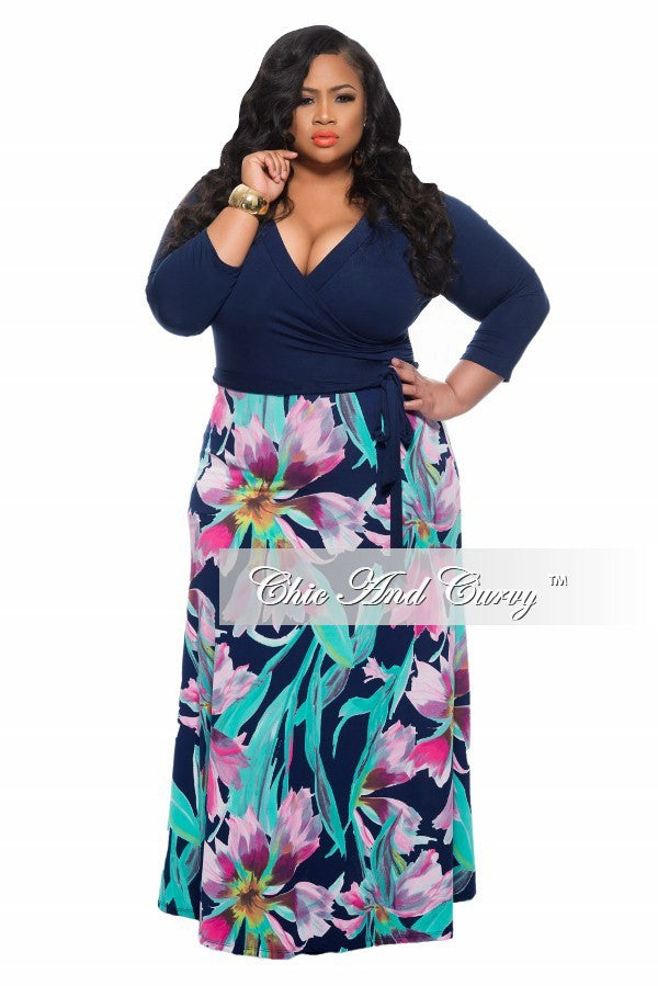 New Plus Size Long Dress with Blue Top with Tie and Floral Bottom