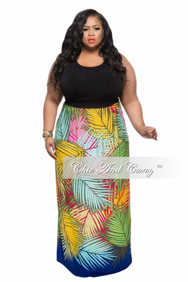New Plus Size Maxi Dress with Black Top and Multi Color Leaf Print