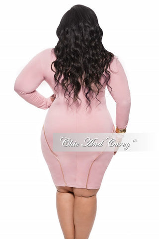 New Plus Size BodyCon with Three Gold Zippers in Rose