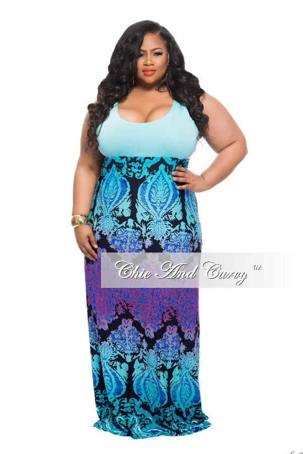 New Plus Size Maxi Dress with Turquoise Top, Royal Blue, Black and ...