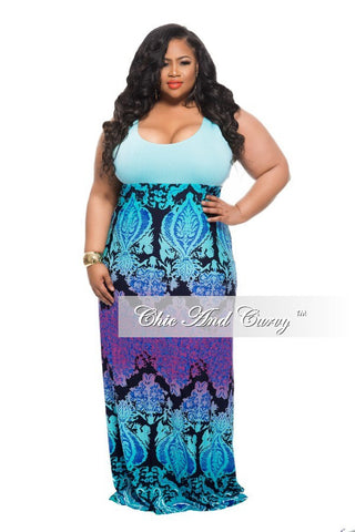 50% Off Sale - Final Sale Plus Size Maxi Dress with Turquoise Top, Royal Blue, Black and Purple Bottom