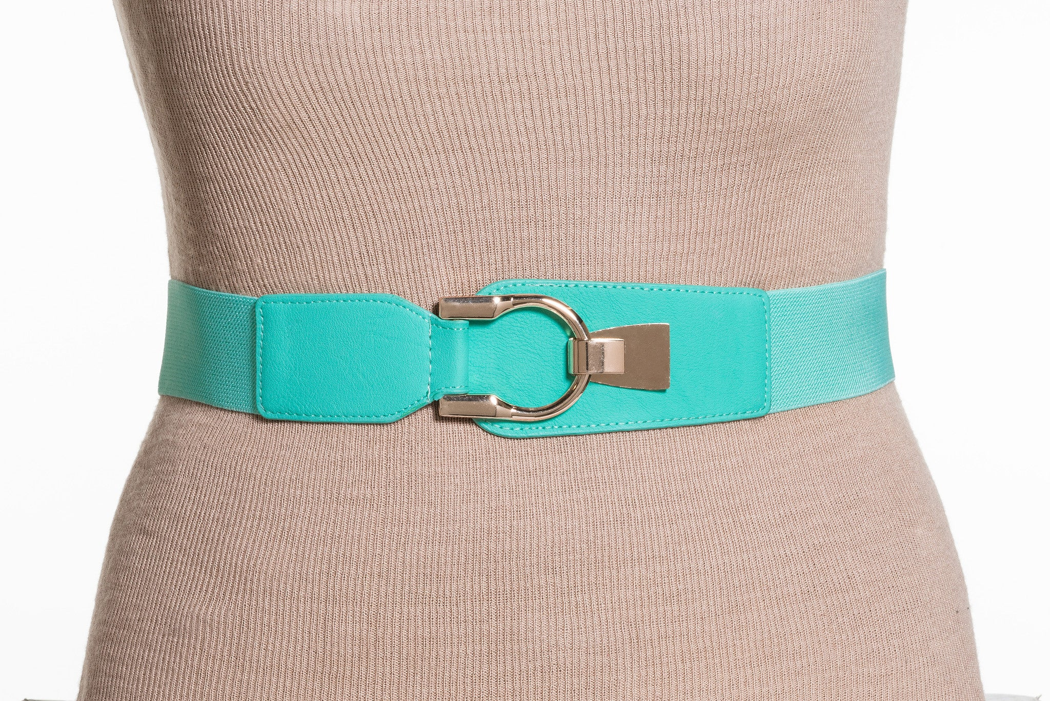 Final Sale Plus Size Elastic Band / Gold Latch Buckle in Mint