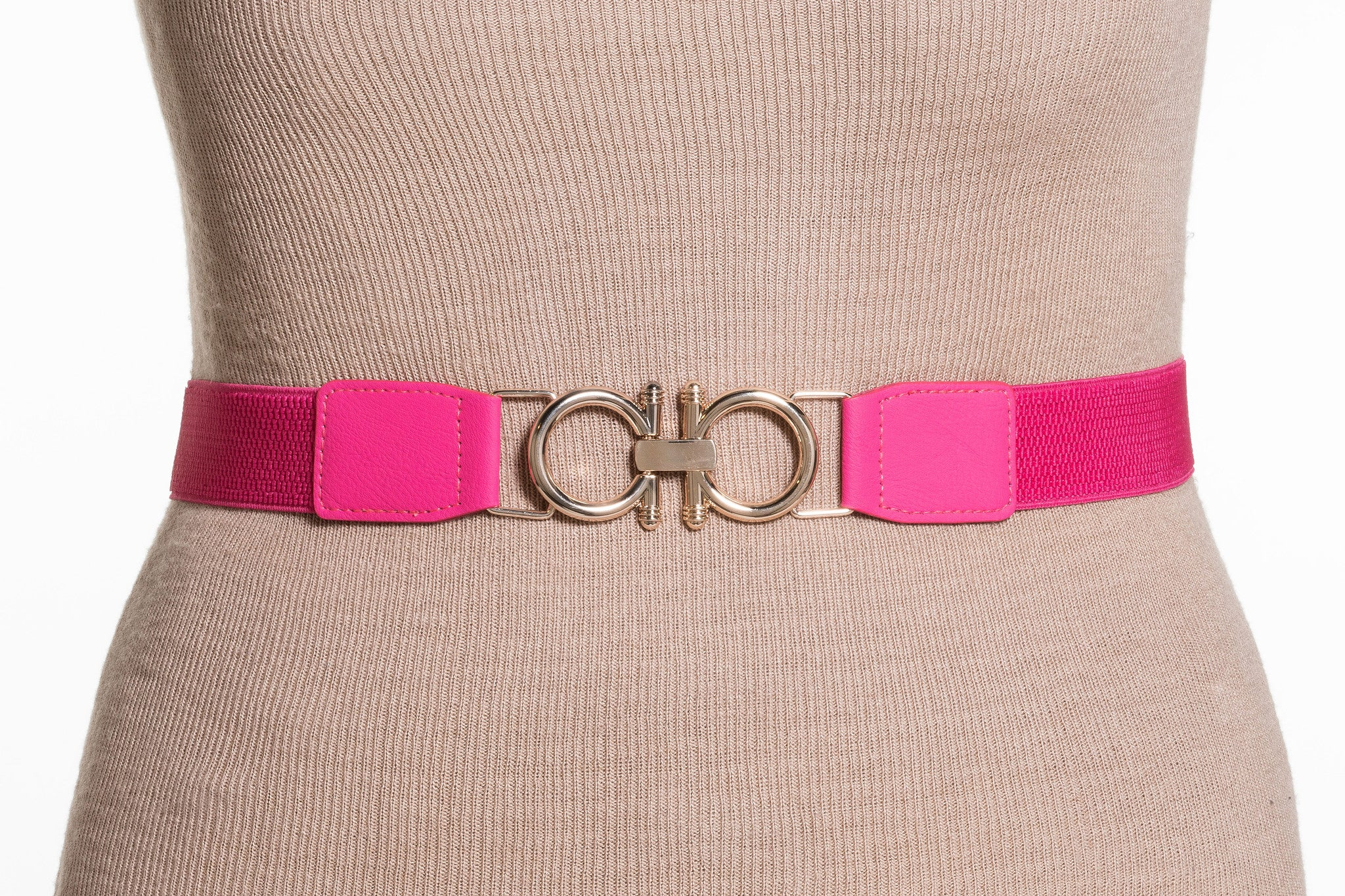 Final Sale Plus Size Elastic Band / Gold Two Ring Lock Belt in Pink