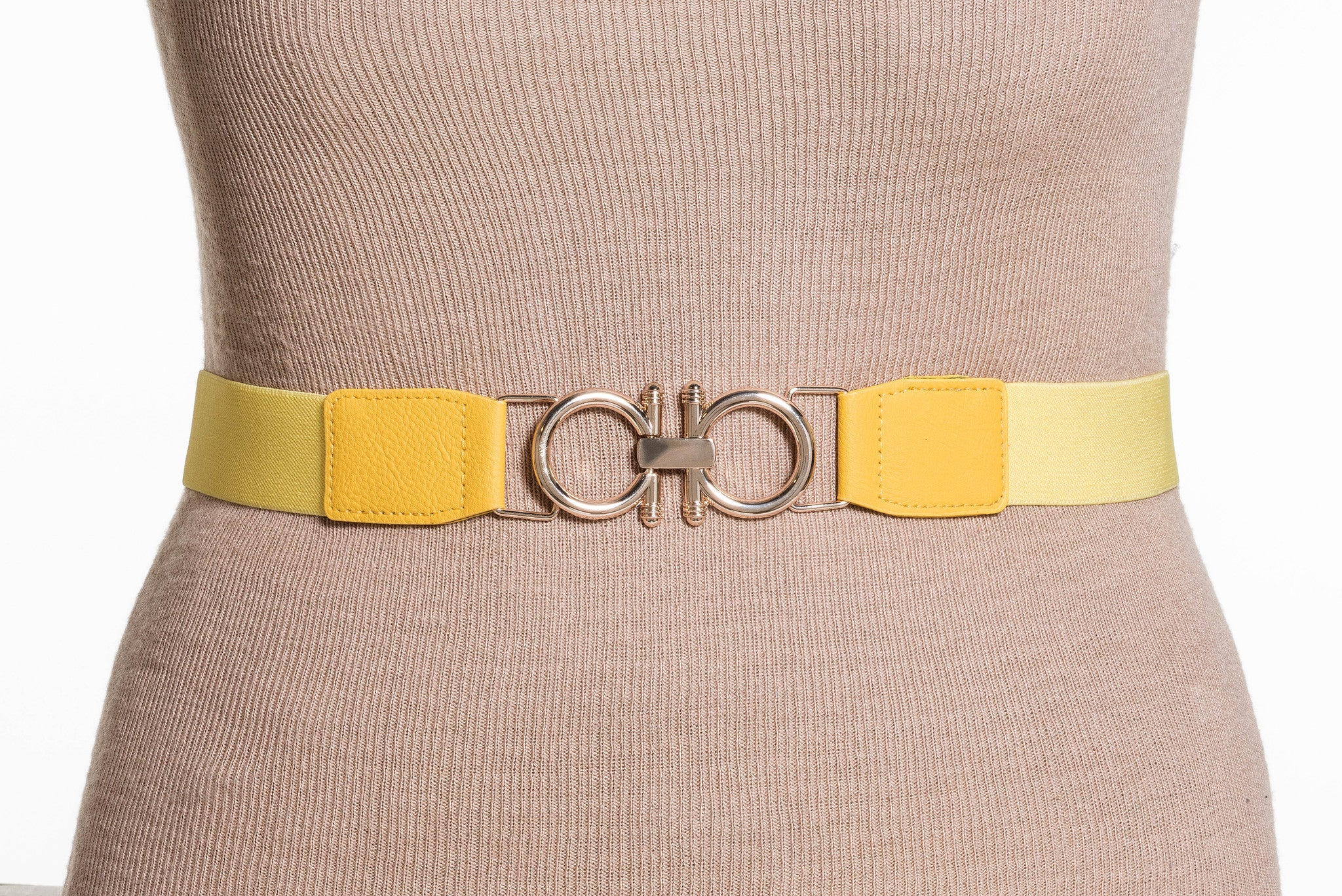 Final Sale Plus Size Elastic Band / Gold Two Ring Lock Belt in Yellow