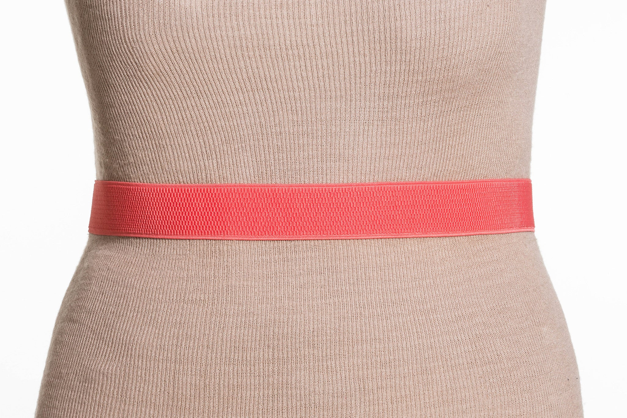 Final Sale Plus Size Elastic Band / Gold Two Ring Lock Belt in Coral