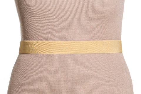 Final Sale Plus Size Elastic Band / Gold Two Ring Lock Belt in Gold