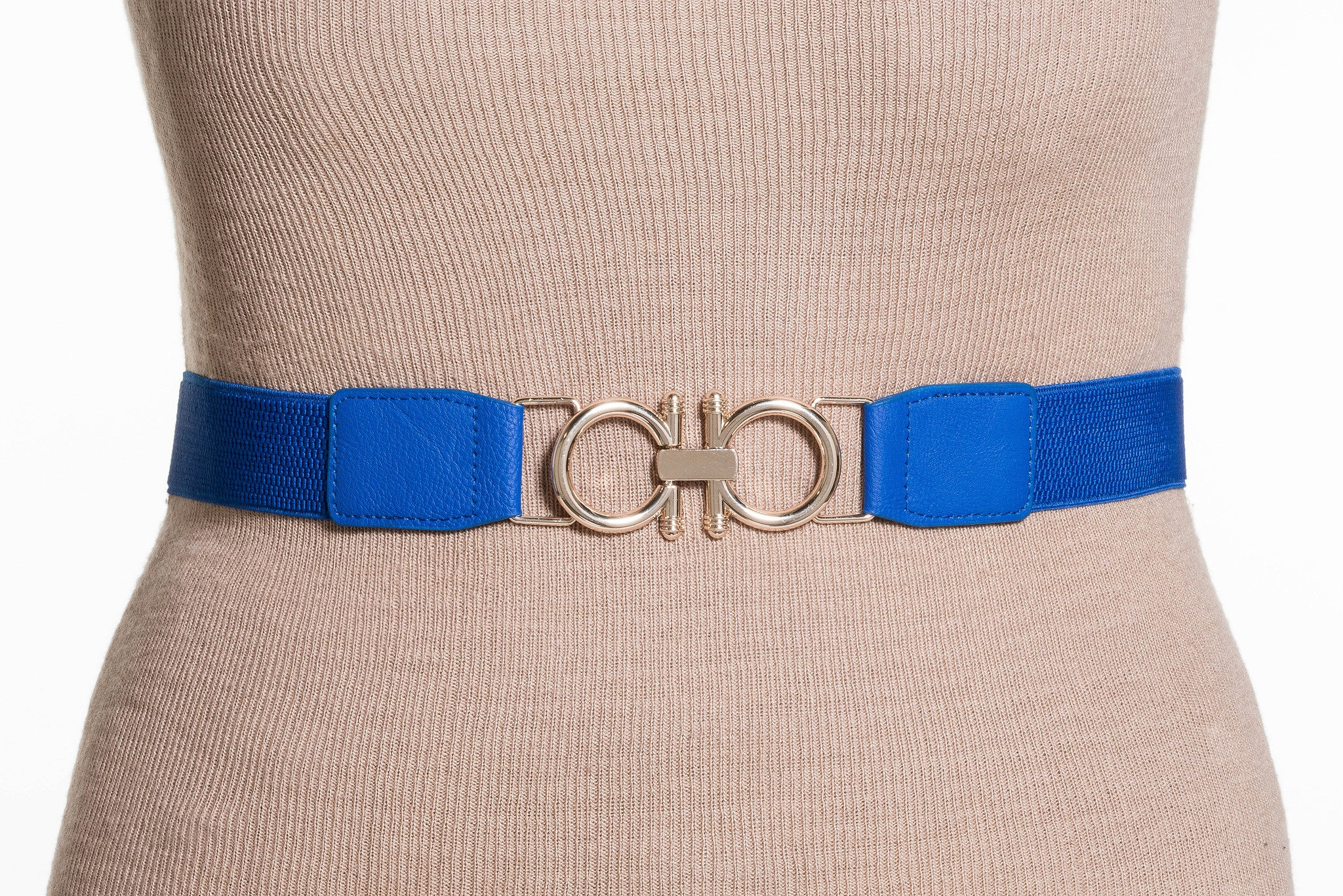 Final Sale Plus Size Elastic Band / Gold Two Ring Lock Belt in Royal Blue