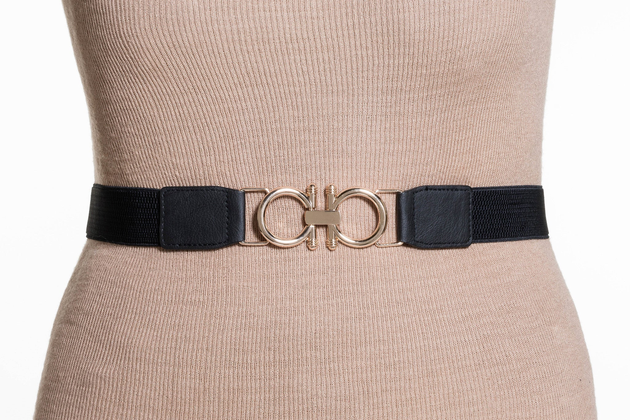 Final Sale Plus Size Elastic Band / Gold Two Ring Lock Belt in Black