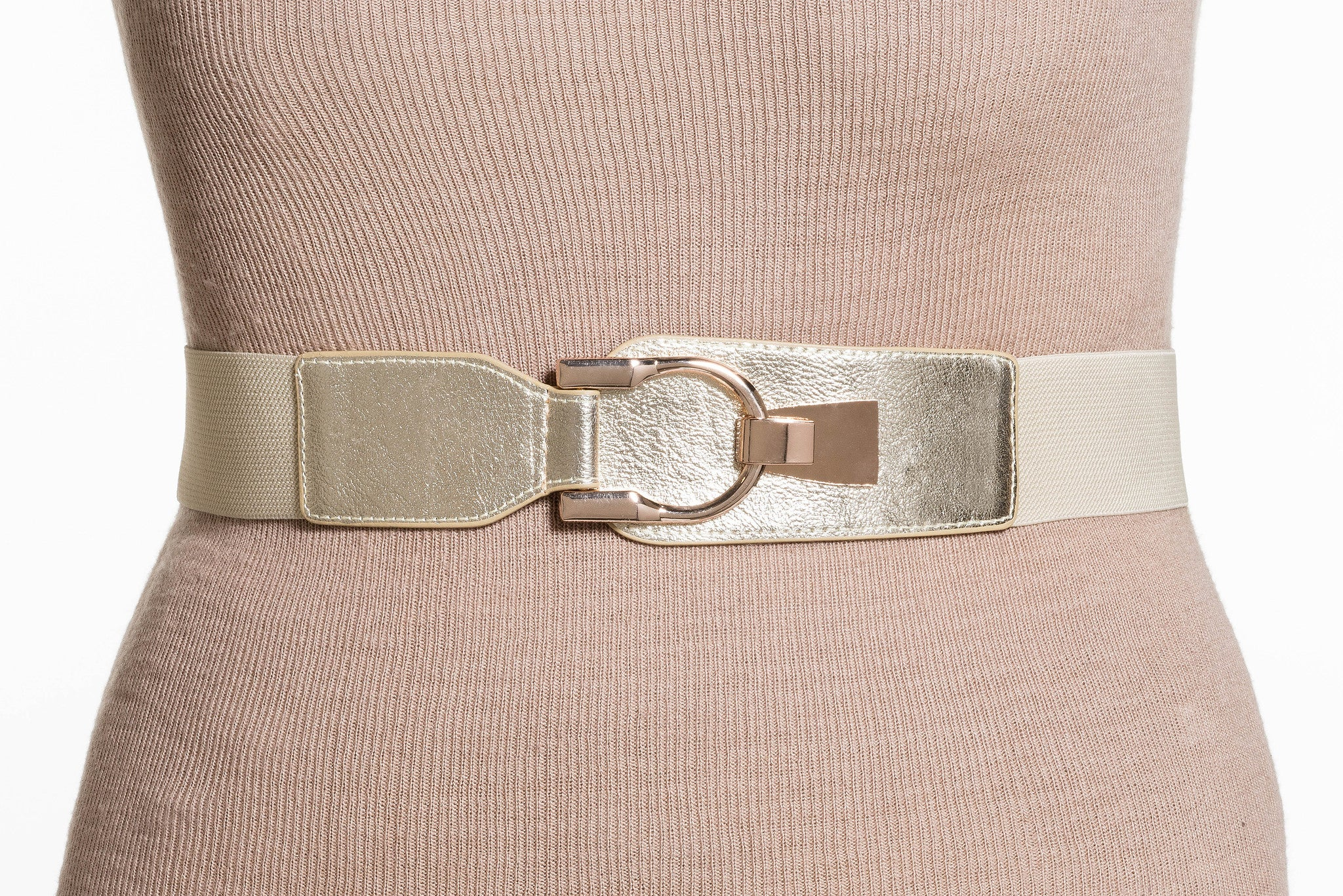 Final Sale Plus Size Elastic Band / Gold Latch Buckle in Gold