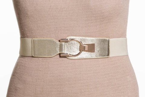 Final Sale Plus Size Elastic Band/Gold Latch Buckle in Gold