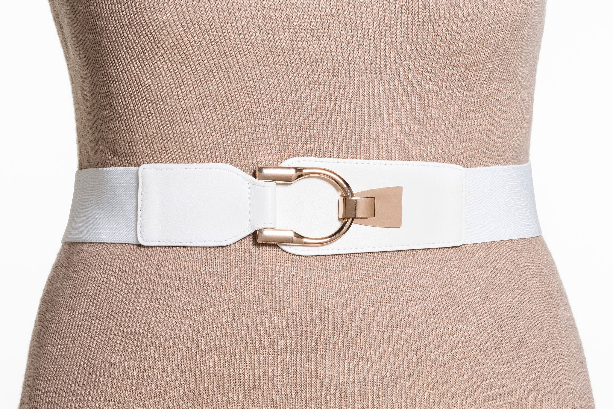 Final Sale Plus Size Elastic Band/Gold Latch Buckle in White
