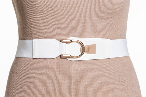 Final Sale Plus Size Elastic Band / Gold Latch Buckle in White