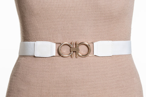Final Sale Plus Size Elastic Band / Gold Two Ring Lock Belt in White