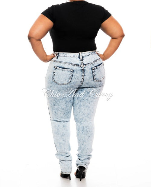 New Plus Size Denim Jeans with Ripped Front in Light Wash