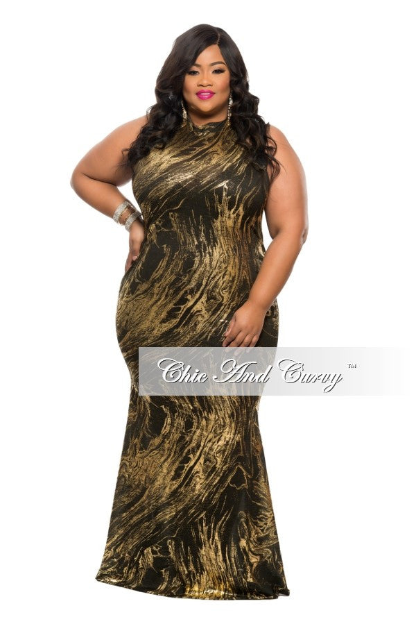 New Plus Size BodyCon Long Dress with Mermaid Bottom and Back Out in Metallic Black and Gold