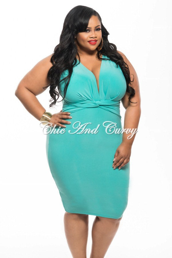 Final Sale Plus Size BodyCon Dress with Deep V Neck and Twisted Waistline in Aqua