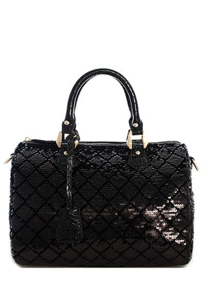 Final Sale Sequin Sparkling Boston Bag in Black