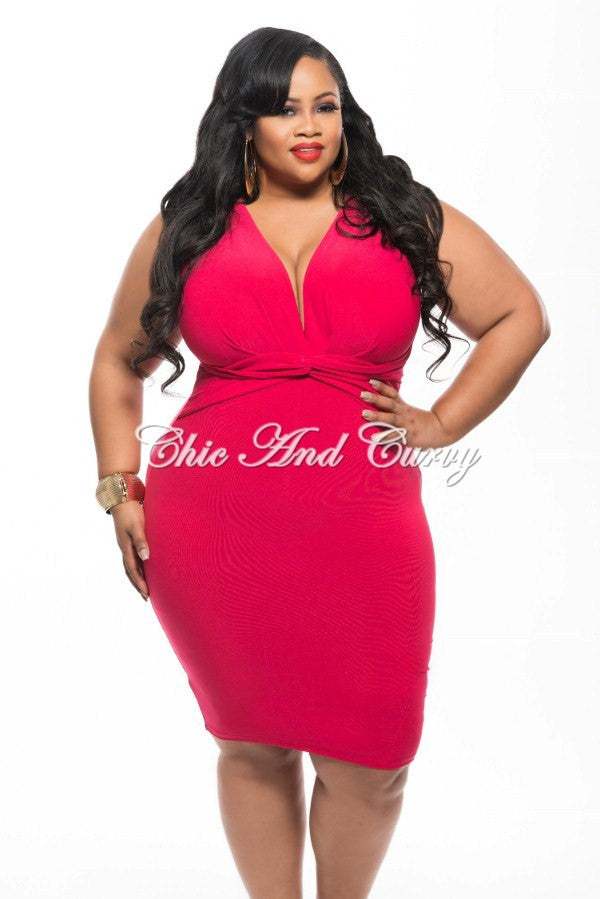 New Plus Size BodyCon Dress with Deep V Neck and Twisted Waistline in Hot Pink