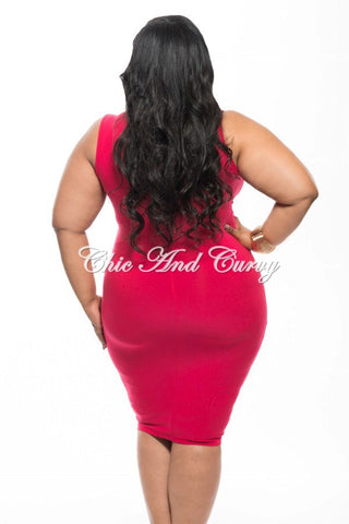 Final Sale Plus Size BodyCon Dress with Deep V Neck and Twisted Waistline in Hot Pink