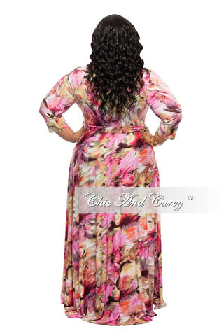 New Plus Size Long Dress with 3/4 Sleeve and Tie in Pink Floral Print