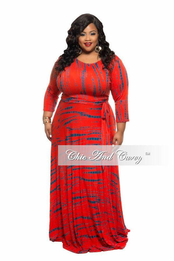 New Plus Size Long Dress with 3/4 Sleeve and Tie in Red Tie Dye Print