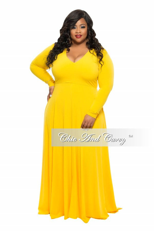 New Plus Size Long Dress with V-Neck and Long Sleeves in Yellow