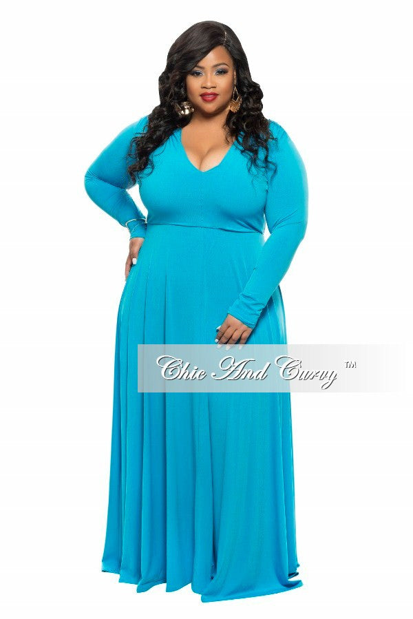 New Plus Size Long Dress with V-Neck and Long Sleeves in Turquoise Blue