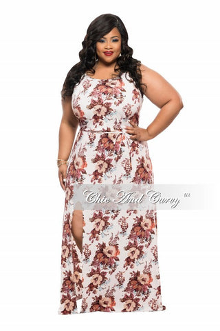 Final Sale Plus Size Sleeveless Maxi Dress with Slit in Off White, Brown, and Coral Floral Print