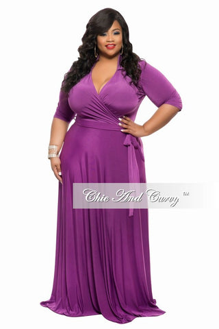 New Plus Size Long Wrap Dress with Pockets, Tie, and Collar in Purple