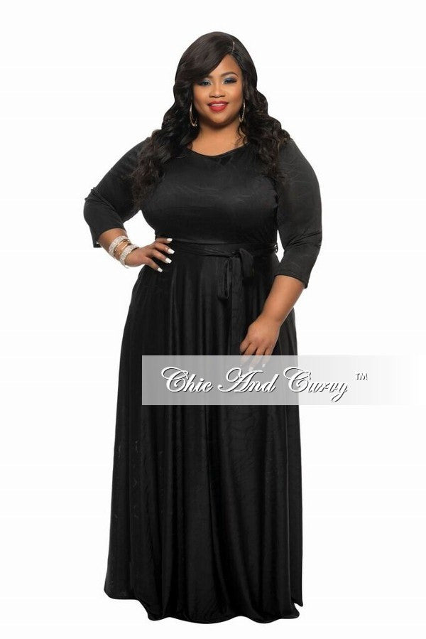 New Plus Size Long Dress with 3/4 Sleeve and Tie in Black Textured Fabric