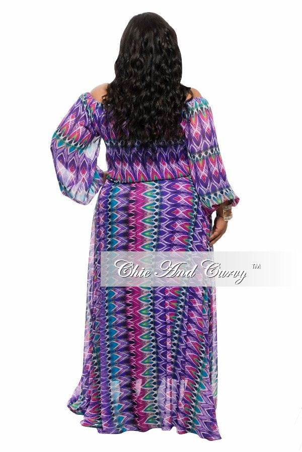Final Sale Plus Size Chiffon Dress in Purple, Black, Green, and Turquoise Print