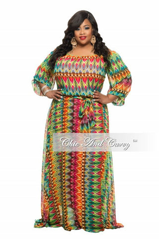 Final Sale Plus Size Chiffon Dress in Orange, Green, Brown and Turquoise Print
