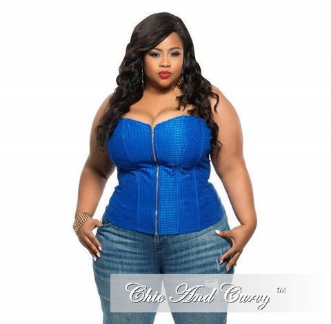 Final Sale Plus Size Strapless Corset Top with Zipper Front in Royal Blue