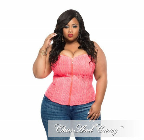 Final Sale Plus Size Strapless Corset Top with Zipper Front in Neon Pink