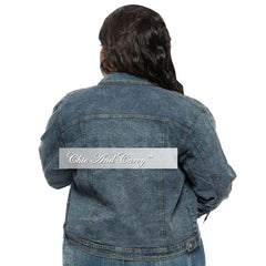 New Plus Size Denim Snow Wash Jacket with Button Closure
