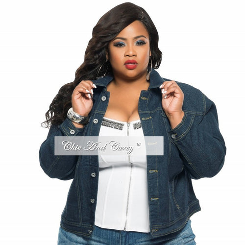 New Plus Size Dark Indigo Denim Jacket with Button Closure