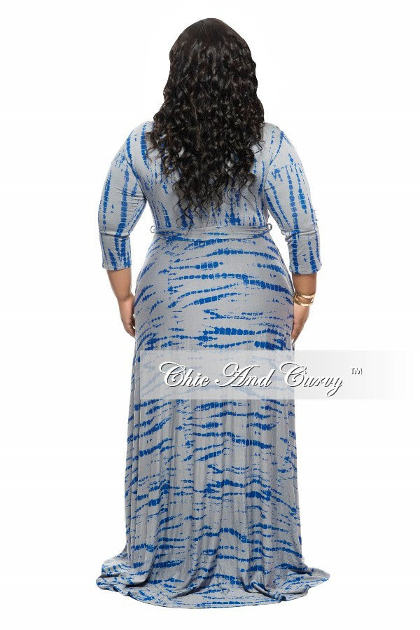 New Plus Size Long Dress with 3/4 Sleeve and Tie in Grey Tie Dye Print