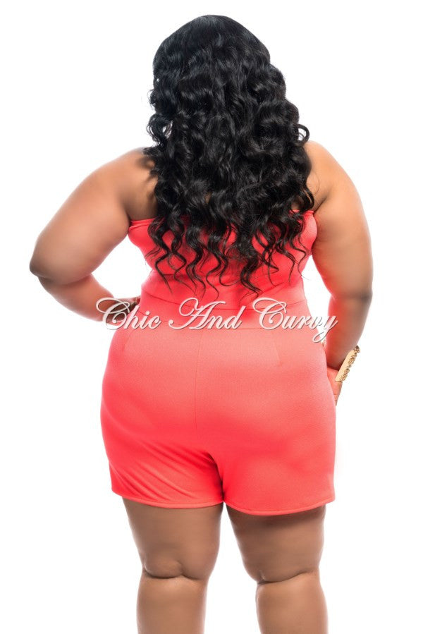 Final Sale Plus Size Romper w/ Sweetheart Neckline in Neon Coral