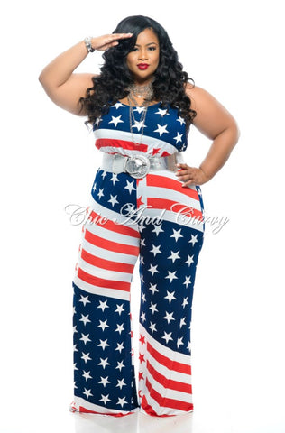 Final Sale Plus Size Sleeveless Jumpsuit w/ Stars and Stripes (Seasonal Item Final Sale)